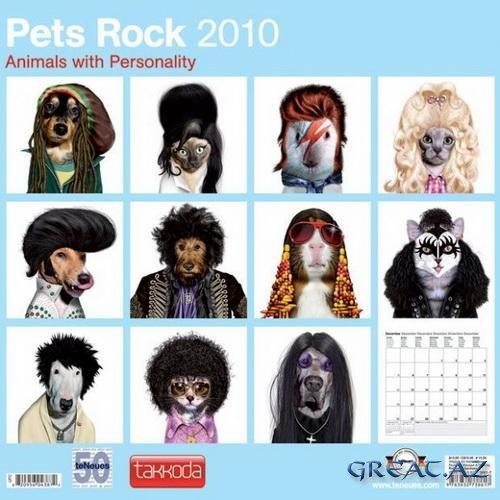 Красочный календарь с животными рок-звездами....
