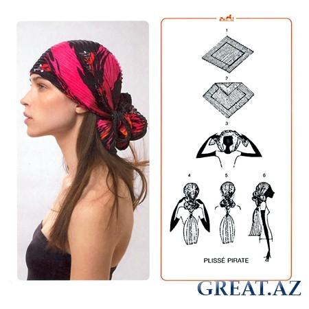 Как завязать платок на голову - гофрированный платок.