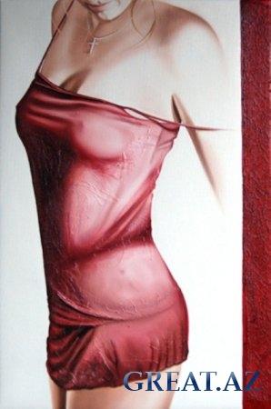 нарисованная девушка в платье карандашом.