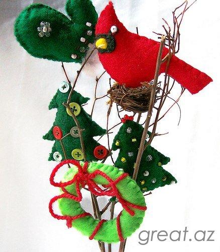 Новогодние украшения из фетра своими руками выкройки